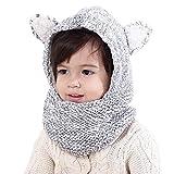 Connectyle Boys Girls Kids Warm Winter Hats Cute Earflap Hood Hat Scarves with Ears Skull Caps Black White