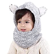 Connectyle Baby Kids Warm Winter Hats Cute Thick Earflap Hood Hat Scarves with Ears