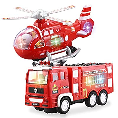 JOYIN 2 Pieces Fire Truck Toy and Helicopter Rescue Vehicle Toy Set with 4D Stunning Lights and Sounds Automatic Bump & Go Toy for Kids