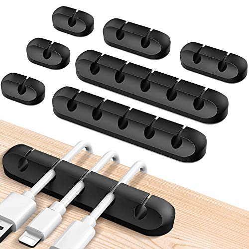 Kabelhalter Kabelclips, 7 Stück Kabel Organizer Vielzweck Kabelführung Kabelmanagement für Schreibtisch Netzkabel, USB Cable Ladekabel, Ladegeräte, Audiokabel