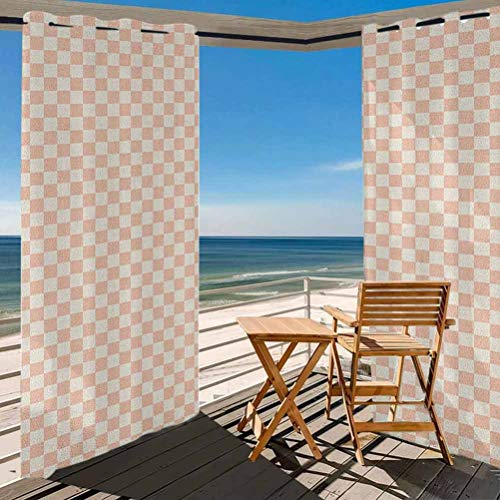 ParadiseDecor Geometric Patio Outdoor Curtain for Patio,Porch,Backyard Pale Salmon Colored Chess Table Like Modern Pink Color Squares Artwork Print Peach Cream 84W x 63L Inch