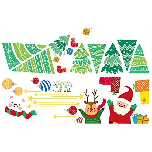 PRETYZOOM Ventana de Navidad se aferra Calcomanías Santa Claus Reno Árbol de Navidad Ventana Pegatinas para Navidad Ventana Decoración de Pared Suministros de Fiesta