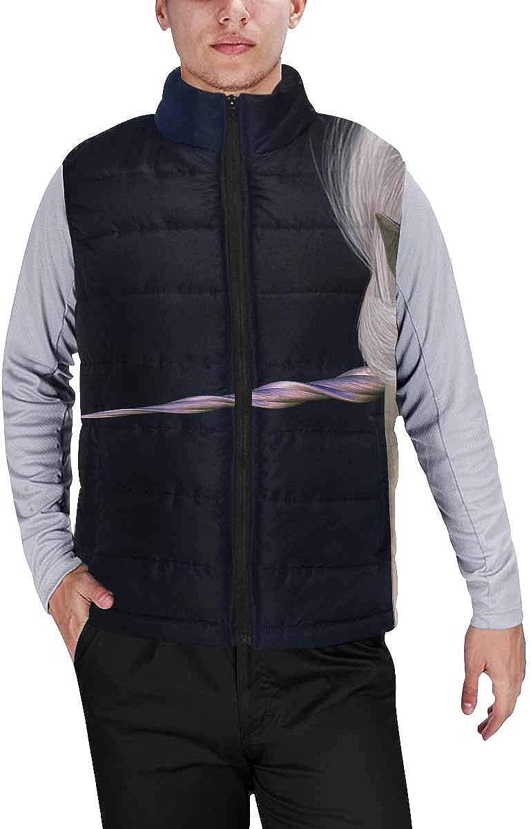InterestPrint Winter Outwear Casual Padded Vest Coats for Men Unicorn on the Black L