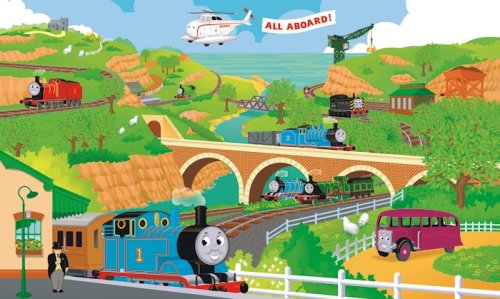 RoomMates YH1415M 9' x 15' Thomas The Train Full Size Prepasted Mural, Multicolor