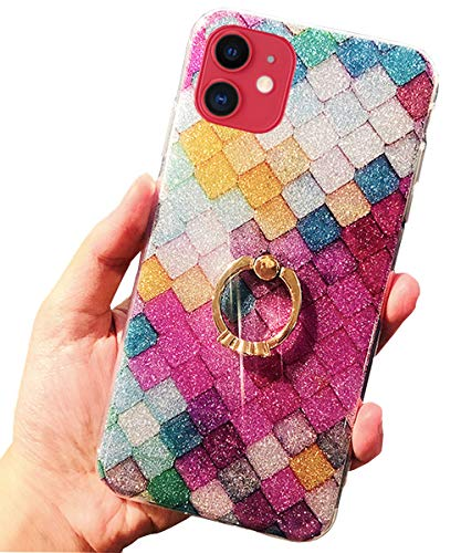 J.west Case for New iPhone 11 Luxury Sparkle Bling Glitter Rose Mermaid Scale Print Soft TPU Phone Cover for Girls Women Clear Slim Design with Ring Stand Holder Protective Case for iPhone 11 6.1 inch