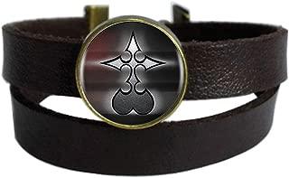 Vintage Punk Dark Brown Leather Bracelet Older Wolf Belt Wrap Cuff Bangle Adjustable