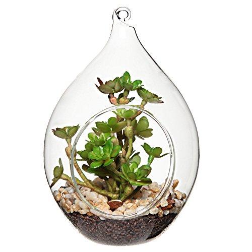 MyGift Artificial Succulent Plant Ornament w/Teardrop Design Hanging Clear Glass Globe, Display Terrarium Vase
