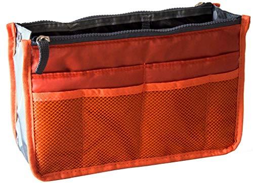 Ducomi Organizer Borsa Donna 13 Tasche Capiente Organizzatore Viaggio Borse Espandibile Doppio Manico Porta Accessori Cosmetici, Telefono, Trucco - Garanzia 3 Anni Spedito da IT (X-Large, Orange)