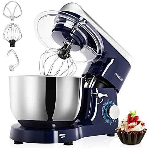 Robot Pâtissier 1500W, 5.5L Elegant Life Robot de Cuisine, Batteur sur socle, Vitesse à 6 Niveaux, Bol en Acier Inoxydable, Batteur, Fouet, Crochet, Blue and Silver