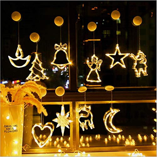 FENGLI Lámpara colgante de ventana de Navidad, 3 piezas, luces de hadas, luces LED colgantes de disco de cortina con ventosa funciona con pilas (color: campanas+ancla+copo de nieve)