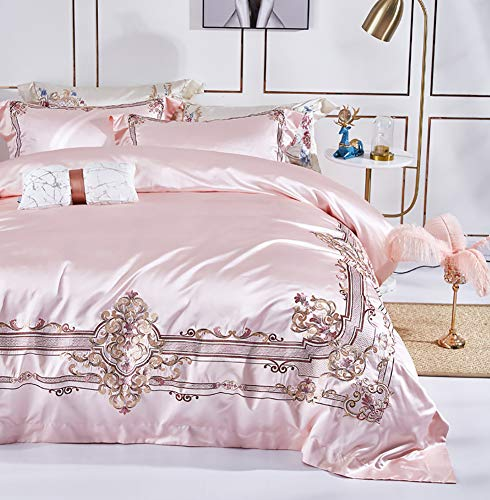 MNBVC Duvet Sets Double Bed, Lace Embroidery Bedding Home Textiles Smooth Anti-wrinkle Bedding Queen King Size