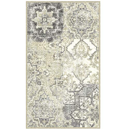 Maples Rugs Vintage Patchwork Distressed 1'8 x 2'10 Non Skid Washable Throw Rugs [Made in USA] for Entryway and Bedroom, Grey