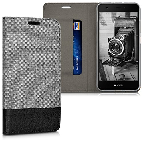 kwmobile Hülle kompatibel mit Huawei Nova - Stoff Handy Schutzhülle - Flip Cover Hülle Grau Schwarz