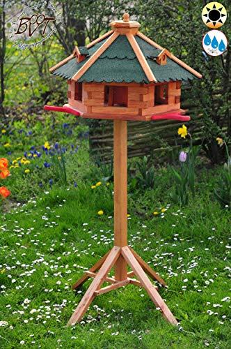Garten-Vogelhaus-Blockhaus, XXXL 75 cm mit Anflugbrett mit Ständer grün,