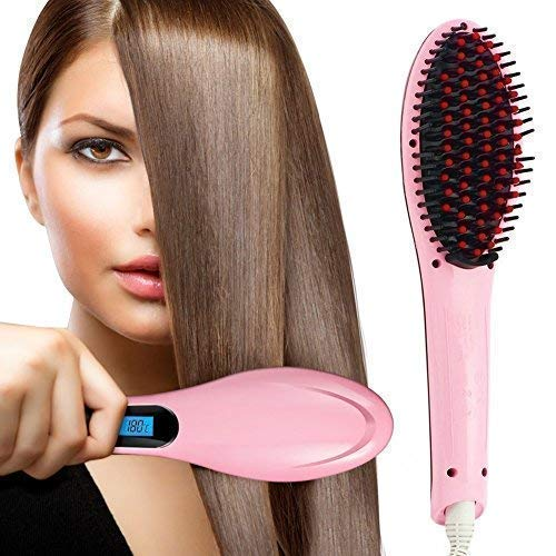 LUCHILA 3 in 1 Ceramic Fast Hair Electric Comb Brush Straightener with LCD Screen, Temperature Control Display for Women (Pink)