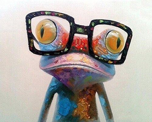 CaptainCrafts Neu Malen nach Zahlen 16x20 für Erwachsene Anfänger Kinder, Kinder Leinwand - EIN bunter Frosch mit Brille (Ohne Frame)