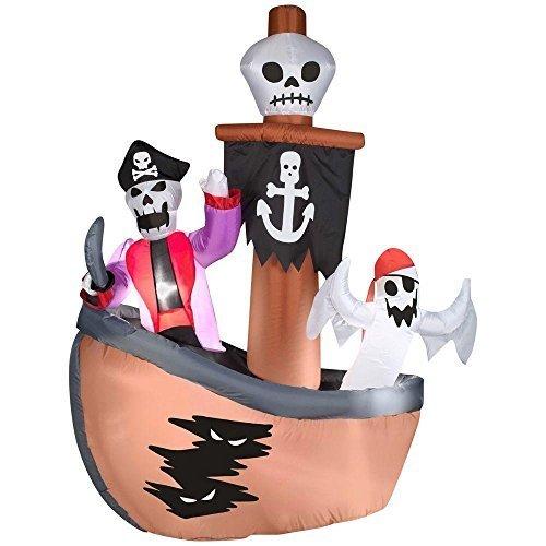 KNL Store Skelett mit Ghost Piraten Schiff Szene aufblasbar Szene Airblown Halloween Creepy Scary Decor Haunted House Prop Outdoor Yard Dekoration