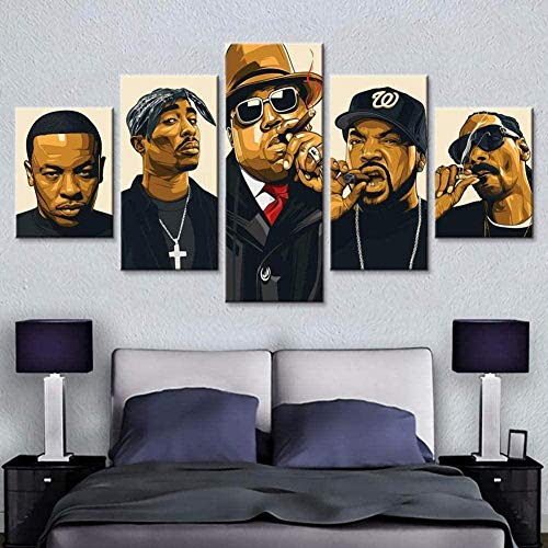 YWZM 5 Piece Poster Hip-hop Legend Collage Rapper Canvas Posters Wall Art Print Image Printed...