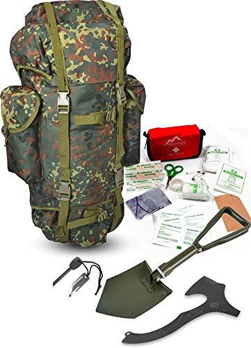 Survival Set BW Bundeswehr Flecktarn Kampfrucksack + Bundeswehr Spaten nach TL + Tomahawk M48 + Feuerstarter + Erste Hilfe Notfall Kit Farbe Flecktarn-BW