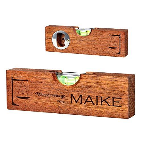 polar-effekt Mini Wasserwaage mit Flaschenöffner mit 2 Seitige Gravur - Geschenk für Männer ideal als Vatertagsgeschenk, Geburtstagsgeschenk - Waage des Gleichgewichts