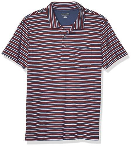 Amazon Essentials Men's Slim-Fit Pocket Jersey Polo, Burgundy Stripe, Medium
