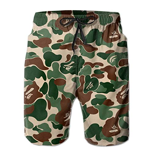 Mannen Animal Bape Camouflage Green Beach Surfing Board Shorts Zwembroek Trunks Whith Pocket