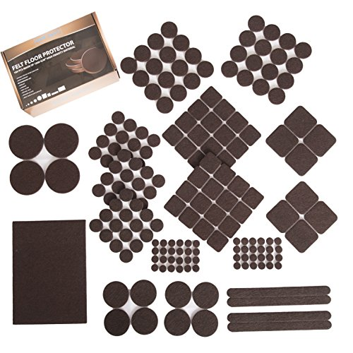 Furniture Felt Pads XL Set 185 pcs Pack! Floor Protector for Wood, Tile Floor and All Hard Surfaces. Brown Premium Felt and Heavy Duty Adhesive - for Chair Legs, Tables, Sofas, Desks and More