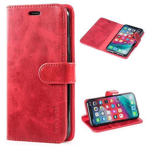 Mulbess Handyhülle für iPhone XR Hülle, Leder Flip Hülle Schutzhülle für iPhone XR Tasche, Wein Rot