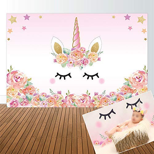 Allenjoy Original Design 5x3ft Unicorn Theme Birthday Pink Party Backdrop for Girl Baby Shower Backdrops Background Event Decor Decorations Newborn Portrait Photography Pictures Supplies Favors