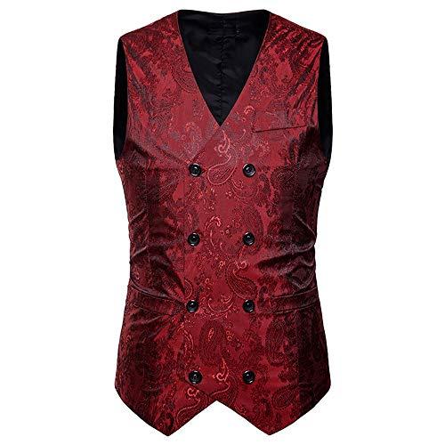 Kanpola Herren Westen Männer Herbst Winter Zweireiher ärmellos Weste Anzug Jacke Mantel Outwear Outdoor(Rot, 50)
