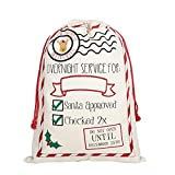 Vanornia Borsa Regalo di Natale Sacco per Regali Natalizi in Tela con Coulisse Stampato di Lettere Babbo Natale (C, 50 * 70 cm)