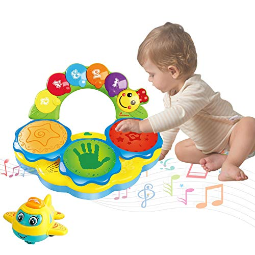 Musical Drums Piano Musical Instrument Baby Toys 18+ Months Early Education Music/Lights/Funny Sounds Toys for 12 3 4 Year Old Boys Girls Toddlers Kids Birthday Christmas Gifts Come with a Airplane