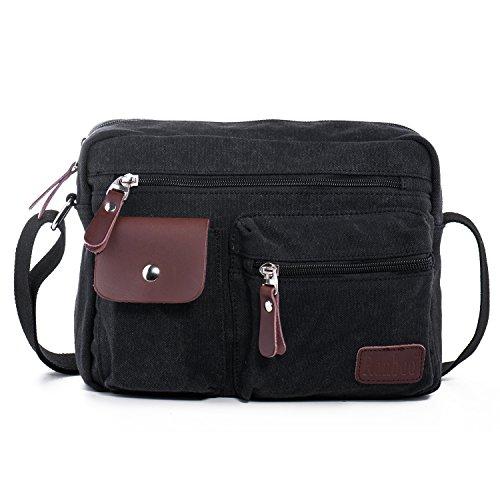 Bolso de Hombro Bandolera de Lona Retro Bolsa de Mensajero Bolsos Messenger Bag para Hombres Mujers Deportes, Trabajo, Casual, Viajes, la Escuela Hengwin