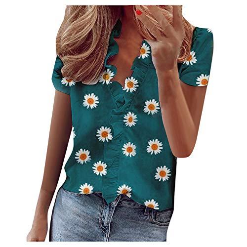 Qigxihkh Damen Sommer Rüschen V-Ausschnitt Kurzarm Blumendruck Casual Dressy T-Shirt Top(1-Grün, L)
