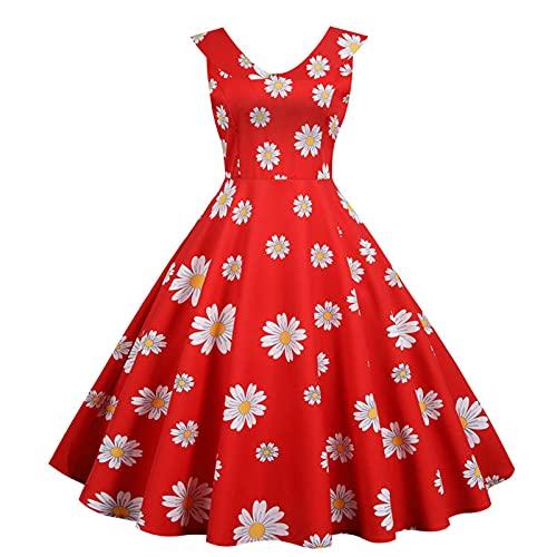 SLYZ Summer Ladies French Retro Waist Sweet Hong Kong Style Doll Collar Slim and Big Swing Dress