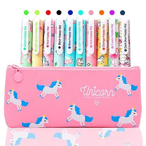 10 Lápices Bolígrafos de Unicornio con Estuche de Regalo Escolar para Niñas Edad 3 4 5 6 7 8 9 10 Años, TOYESS Bolígrafos Flamingo Lindos Set Regalo de Cumpleaños para Niños, Rosa