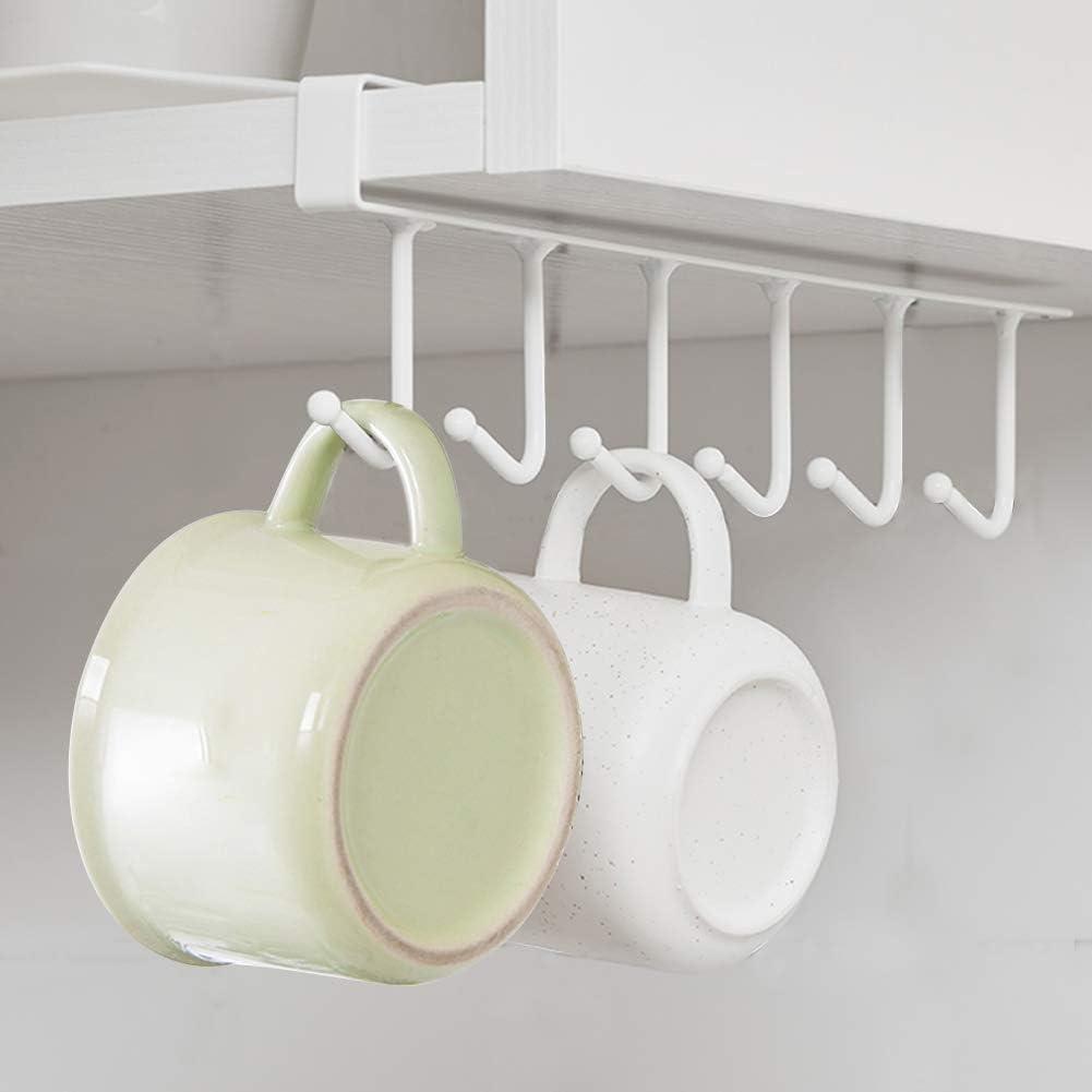 Black Greensen Coffe Mug Rack 6 Hook Under Cabinet Mug Cup Storage Hooks Holder for Wardrobe Kitchen Organizer Under Cabinet Hooks