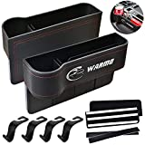 WARMQ Car Seat Organizer, 2 Packs PU Leather Front Seat Gap Filler, Multifunctional Storage, Coin Laptop Cellphone Wallet Cup Cards Holder, Console Side Pocket Caddy Bucket Basket