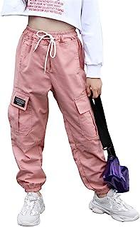 AFirst Pantalones deportivos para niñas grandes, estilo hip hop, casuales, cintura elástica, pantalones cargo con bolsillo...