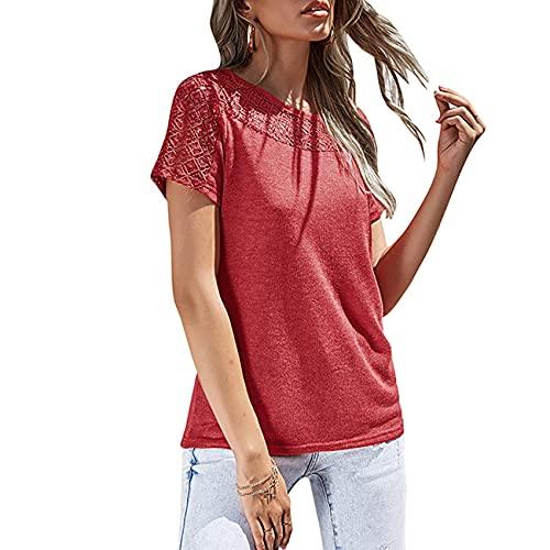 Jersey Informal De Primavera Y Verano para Mujer, Cuello Redondo, Color SóLido, Costura De Ganchillo, Camiseta Holgada De Manga Corta, Camiseta para Mujer