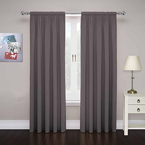"PAIRS TO GO Cadenza 63"" x 80"" Rod Pocket Double Panel Privacy Window Treatment Living Room, Smoke"