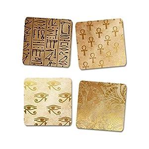 """Ägypten Magnet""""Schätze Ägyptens"""" mit Auge des Horus Hieroglyphen Ankh in gold braun"""