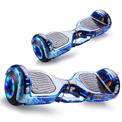 RENSHUYU Hoverboards con Rueda Luminosa, con Altavoz Bluetooth Hermosas Luces LED, Hoverboards para niños y Adolescentes y Adultos