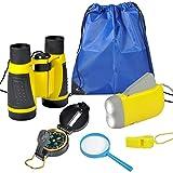 VGEBY Kit de Binoculares para niños - Binoculares para Niños Linterna de Manivela Brújula Lupa Silbato y Mochila con Cordones Juguetes de Exploración 6uds(Amarillo)