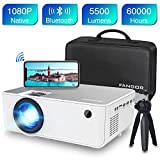 Mini Wifi Projector, FANGOR Native 1080P HD Projector with Bluetooth, 5500 Lux, 230'