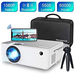 Proyector WiFi FANGOR 1080P Nativo HD Proyector Vídeo 5500 Lumens portátil Bluetooth Proyector Cine en casa Proyector Compatible con TV Stick, HDMI, VGA, USB, Laptop, iPhone / teléfono Android