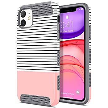 ULAK Compatible with iPhone 11 Case Slim Hybrid Hard PC Shell Shockproof Phone Case for Women Girls Anti-Scratch Protective Bumper Cover for iPhone 11 6.1 inch Rose Gold Stripes