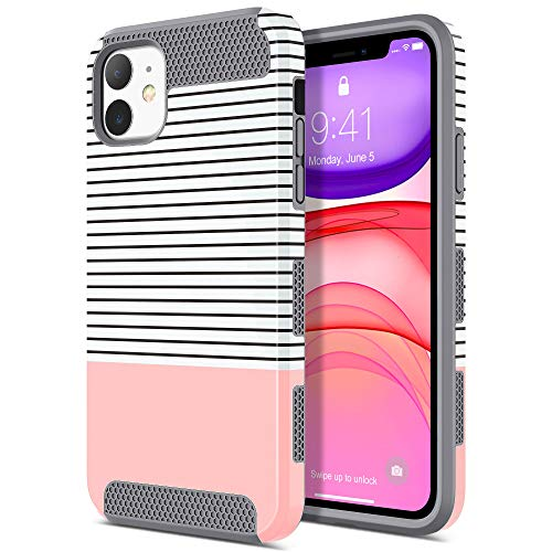 ULAK iPhone 11 Case, Slim Stylish Designed Shockproof Protective Hybrid Scratch Resistant Hard Back Cover Shock Absorbent TPU Bumper Case for Apple iPhone 11 6.1 inch (2019), Rose Gold Stripes