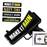 Money Gun Make It Rain - Fun Shooting Prop Cash Gun Shooter, Includes Fake 100 Dollar Bills & 4 Unique Black Stickers for All Celebrations. Shoot Some Supreme Fun into Your Bachelor Party or Wedding!