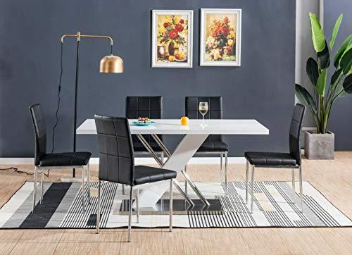 H Range® UK Giovanni wit hoogglans chroom eettafel set en 4 faux lederen stoelen stoel zwart bruin wit